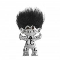Chrome/black hair, GoodLuck Troll, 15 cm