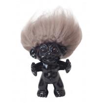 GoodLuck Troll, Black/nature hair, 12 cm