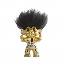 Brass/black hair, GoodLuck Troll,  15 cm