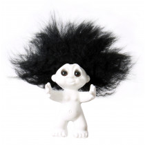White/black hair, 9 cm, Goodluck troll