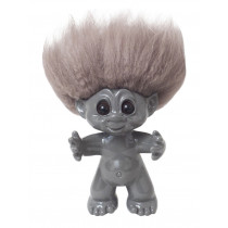 GoodLuck Troll, Grey/nature hair, 9 cm