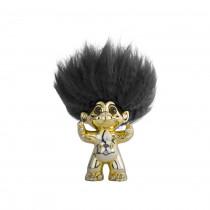 Brass/ black hair, GoodLuck Troll, 9 cm