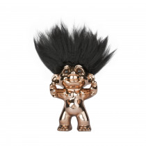 Bronze/black hair, GoodLuck Troll,  12 cm