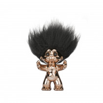Bronze/black hair, GoodLuck Troll, 9 cm
