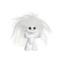 Matte white/white hair 9 cm, Goodluck troll