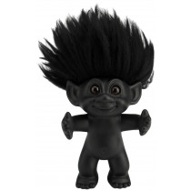 Goodluck Troll, matte black/black hair, 12 cm