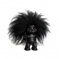 Goodluck Troll, matte black/black hair, 9 cm