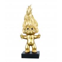 Goodluck Troll, brushed brass, limited edition with 14 carat gold heart