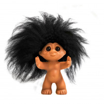 GoodLuck troll, Rubber/Black hair, 9 cm