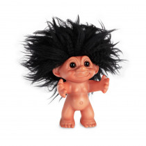 Gummi look/sort hår, 12 cm, Lykketrold