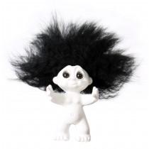 Lykketrold, Hvid/sort hår, 9 cm