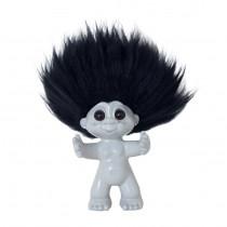 Lykketrold, lysgrå/sort hår, 9 cm