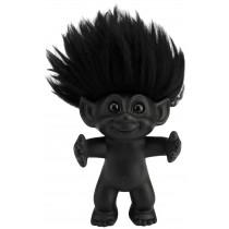 Lykketrold, mat sort/sort hår, 12 cm