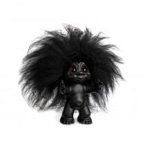 Lykketrold, mat sort/sort hår, 9 cm