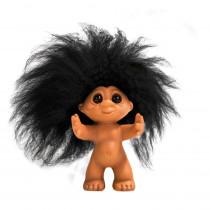 Lykketrold, Gummi look/ sort hår, 9 cm