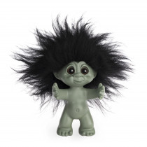 Lykketrold, Grøn/sort hår, 9 cm