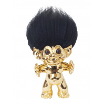 Brass/black hair, GoodLuck Troll, 12 cm