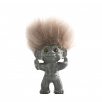 GoodLuck Troll, Grey/nature hair, 12 cm