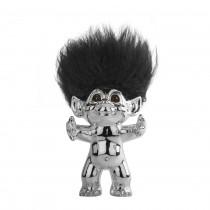 Chrome/black hair, GoodLuck Troll, 12 cm