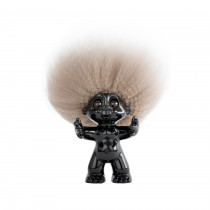 GoodLuck Troll, Black/nature hair, 9 cm