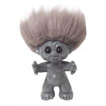 GoodLuck Troll, Grey/nature hair, 9 cm