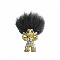 Brass/ black hair, GoodLuck Troll, 9 cm