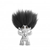 Chrome/Black hair, GoodLuck Troll, 9 cm