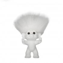 GoodLuck Troll, Matte white/white hair, 12 cm
