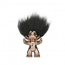 Bronze/black hair, GoodLuck Troll, 9 cm
