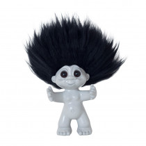 Goodluck Troll, light grey/black hair, 9 cm